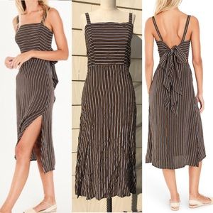 New Faithfull Katergo Tie-Back Striped Midi Dress